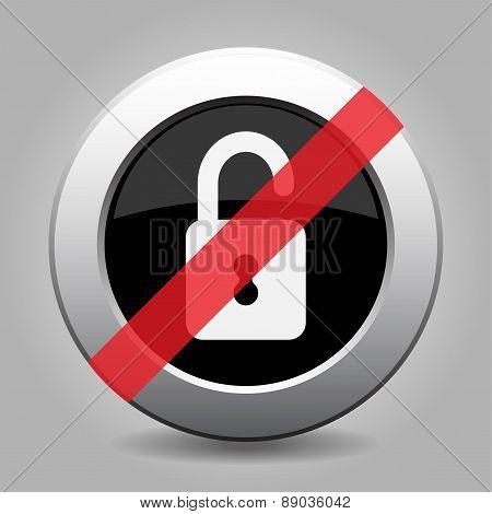 Gray Chrome Button - No Open Padlock