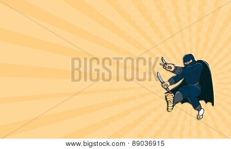 Business Card Ninja Masked Warrior Kicking Cartoon