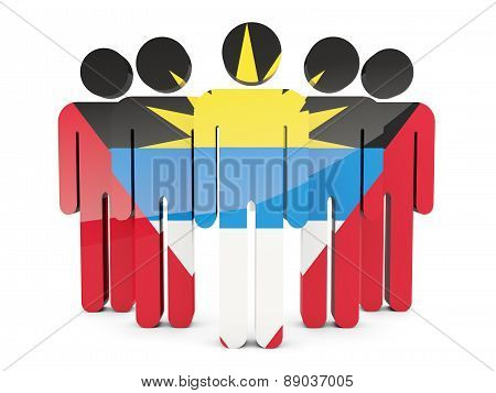 People With Flag Of Antigua And Barbuda