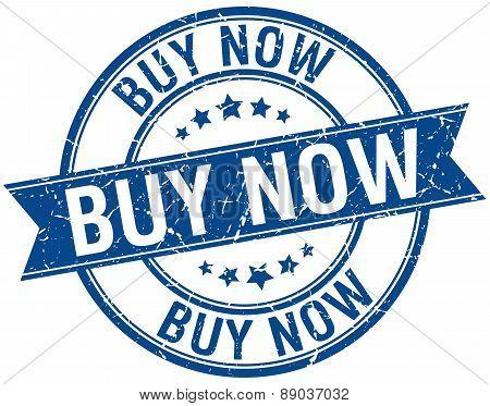 Buy Now Grunge Retro Blue Isolated Ribbon Stamp