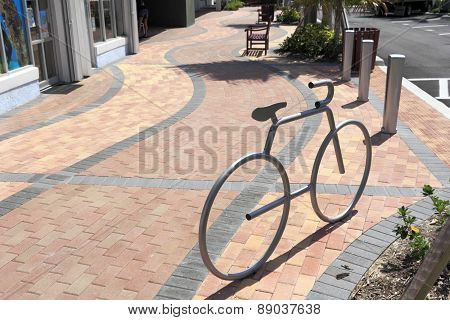 Bicycle Shaped Silver Bike Rack
