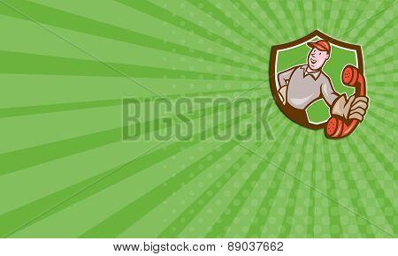 Business Card Telephone Repairman Phone Shield Cartoon