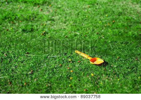 Orange Spade In A Green Field