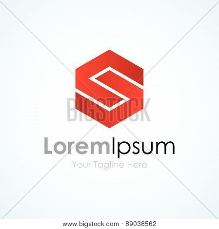 S strong capital red letter business element icon logo