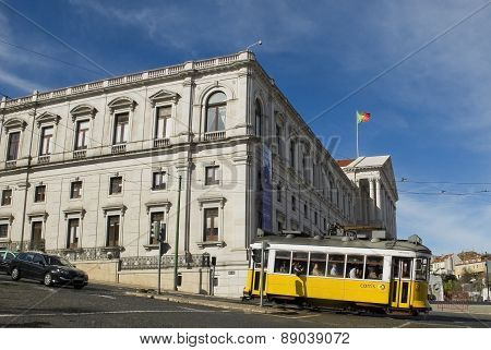 Lisbon Parliament And Tram In Bairro Alto District, Lisbon.
