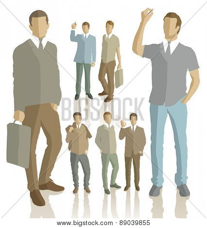 Vector silhouettes of business people with transparency shadows
