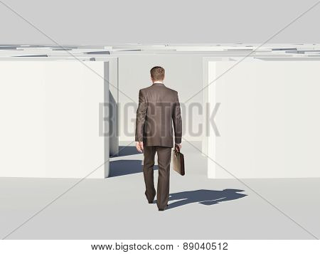 Businessman with suitcase enters labyrinth