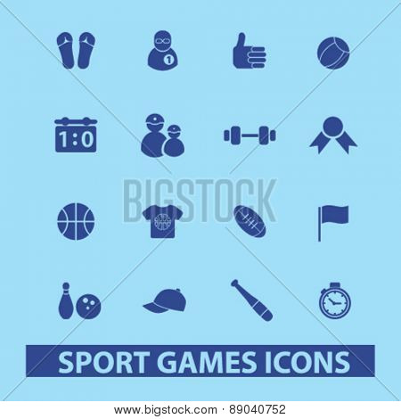 sport, games, fitness icons, signs, illustrations set, vector