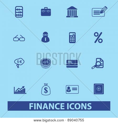 finance, bank, money icons, signs, illustrations set, vector