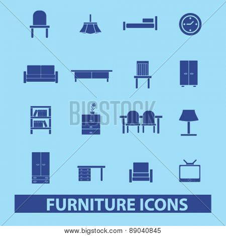 furniture, room, interior icons, signs, illustrations set, vector