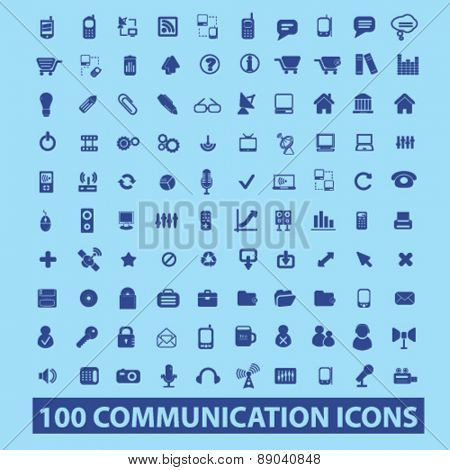 100 communication, connection, technology, phone, mobile. internet icons, signs, illustrations set, vector