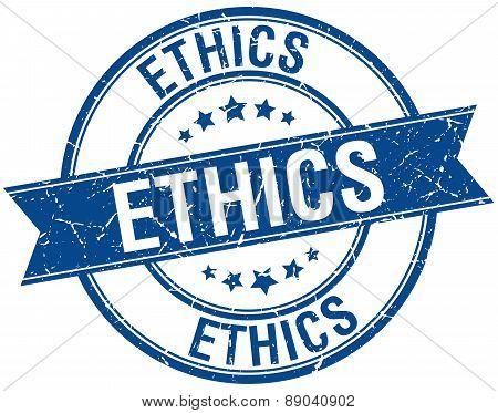 Ethics Grunge Retro Blue Isolated Ribbon Stamp