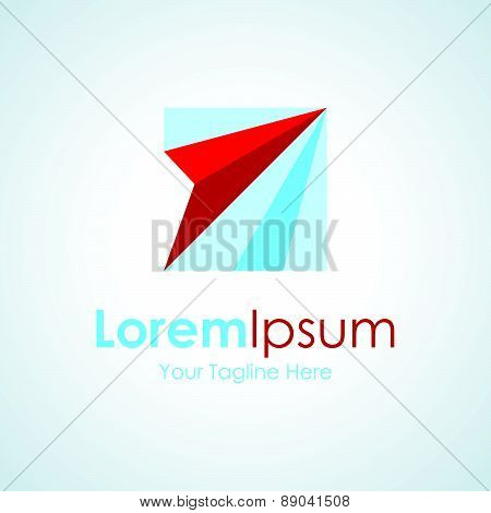 Red paper airplane creative origami element icon logo for business
