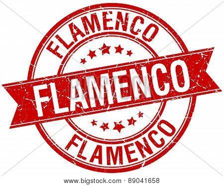 Flamenco Grunge Retro Red Isolated Ribbon Stamp