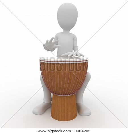 3D Man With Djembe Drum