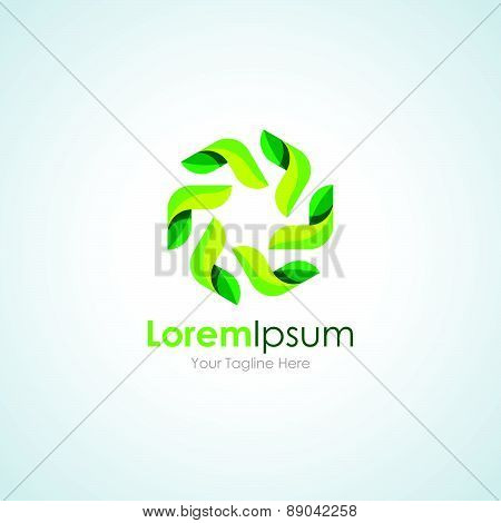 Leaf grean circle harmony element icon logo for business