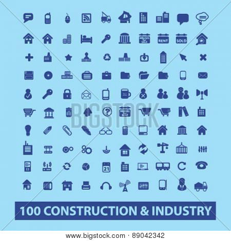 100 construction, industry icons, signs, illustrations set, vector