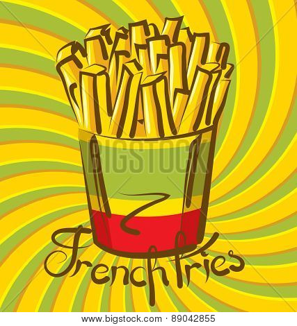 vector french fries with calligraphic inscription