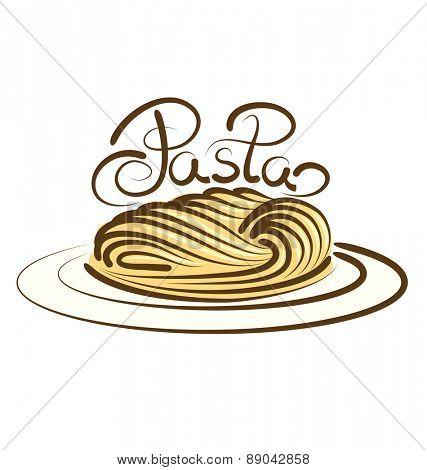 vector pasta with calligraphic inscription