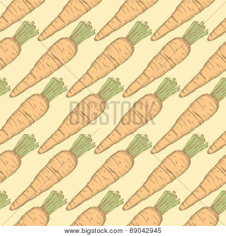 Sketch Tasty Carrot In Vintage Style