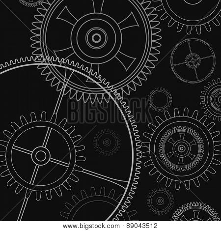 Background technology with gears and cogwheel, vector illustration.