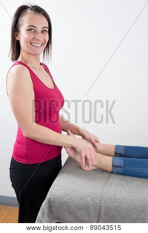 A Young Woman Receiving A  Back Massage