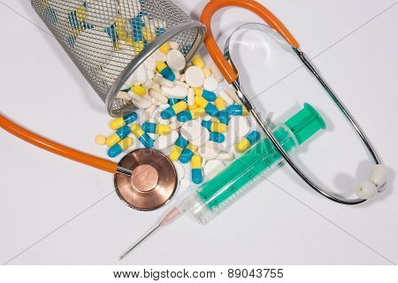 A Background Made Of Colorful Pills