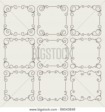 Set of 9 decorative text frames on aged background. Vector illustration for your design.