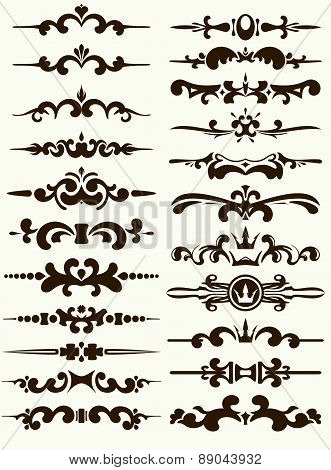 Big set of 22 beautiful, decorative elements for your design or tattoo. Vector illustration.