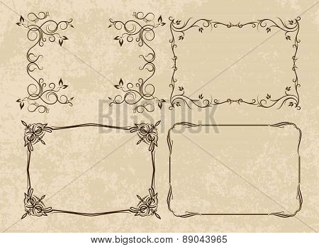 Set of 4 different, decorative frames on aged background. Vector illustration for your design.