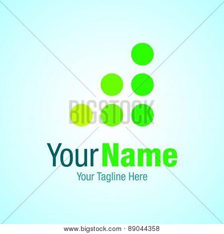 Green progress dots graphic design logo icon