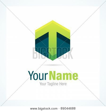 Green arrow hexagon shape business graphic design logo icon