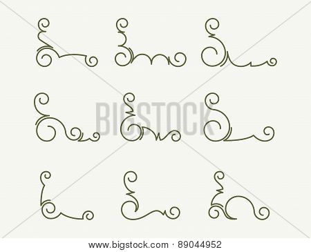 Set of 9 decorative corners. Vector illustration.
