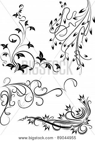 Beautiful set of 4 floral corners for your design or tattoo. Vector illustration.