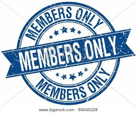 Members Only Grunge Retro Blue Isolated Ribbon Stamp