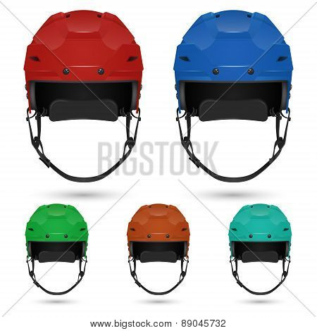 Ice hockey helmets set, isolated on white.