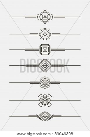 Set of 7 elegant, in mono line style text dividers - decorative elements. Vector illustration for yo