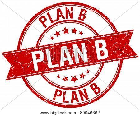 Plan B Grunge Retro Red Isolated Ribbon Stamp