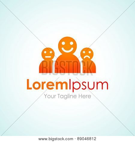 People mood faces group expressions simple business icon logo