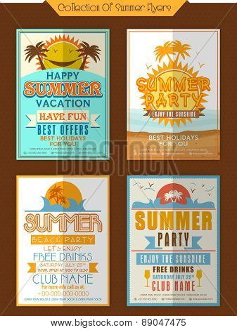 Collection of Summer Party Flyers or Invitations decorated with view of beach and palm trees.