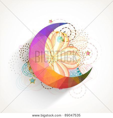 Islamic famous festival, Eid Mubarak celebration with colorful crescent moon on floral design decorated background.