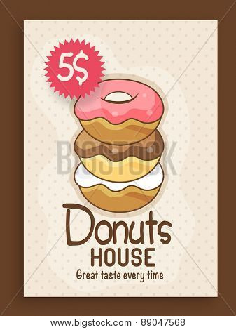 Stylish vintage menu card design for Donuts House with price.