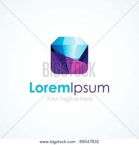 Unveil of perfect diamond simple business icon logo