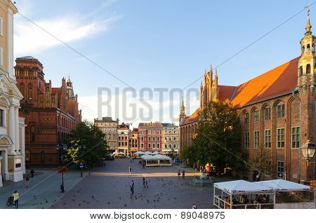 Gothic city, the Old Town Square in Torun, Poland.