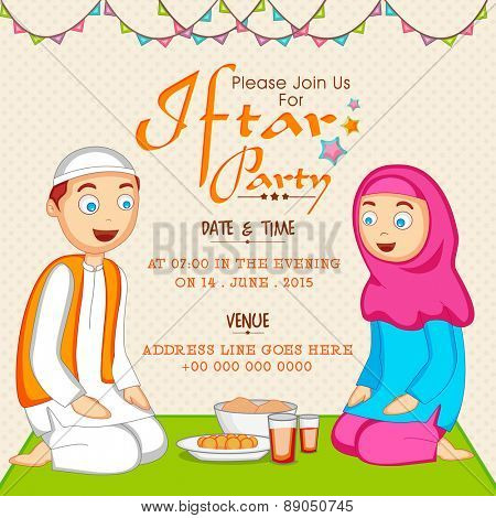Holy month of Muslim community Ramadan Kareem celebration invitation card with Islamic couple enjoying Iftar Party.