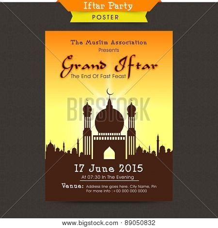 Stylish Mosque decorated beautiful invitation card design for holy month of Muslim community, Ramadan Kareem Iftar Party celebration.
