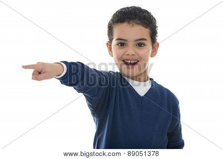 Cute Young Boy Pointing