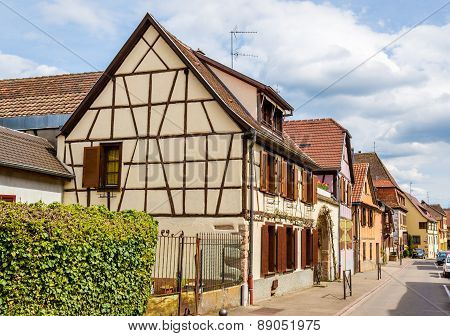 Traditional Alsatian Houses In Bergheim, France
