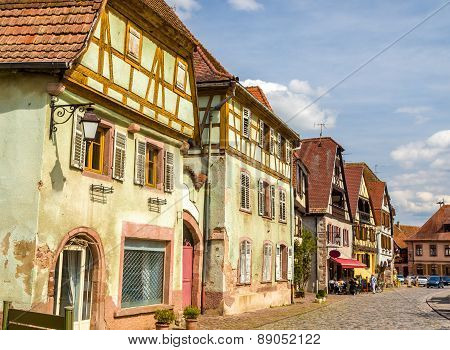 Traditional Timbered Houses In Bergheim - Alsace, France
