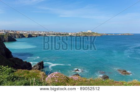 North Cornwall coast at Newquay in spring towards the harbour